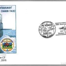 Sellos: MATASELLOS 20 AÑOS SUBMARINO NUCLEAR USS WYOMING SSBN-742. GROTON 2016. Lote 58632948