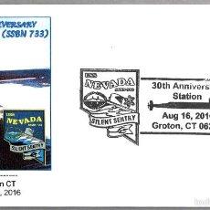 Sellos: MATASELLOS 30 AÑOS SUBMARINO NUCLEAR USS NEVADA (SSBN 733). GROTON CT 2016. Lote 60879827