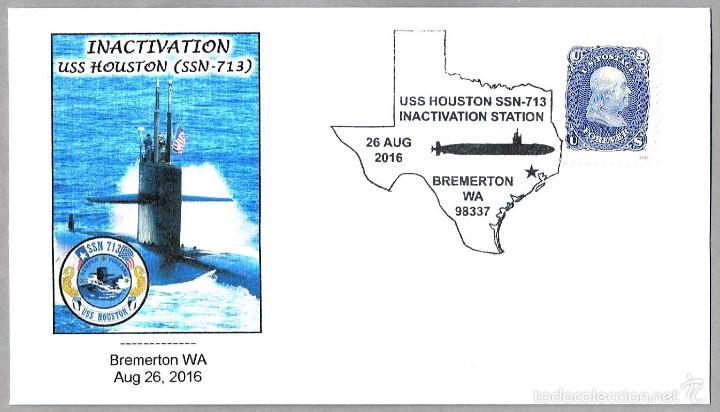 MATASELLOS DESACTIVACION SUBMARINO NUCLEAR USS HOUSTON (SSN-713). BREMERTON WA 2016 (Sellos - Temáticas - Otros Transportes)