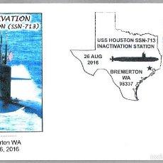 Sellos: MATASELLOS DESACTIVACION SUBMARINO NUCLEAR USS HOUSTON (SSN-713). BREMERTON WA 2016. Lote 61029231