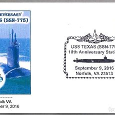 Sellos: MATASELLOS 10 AÑOS SUBMARINO NUCLEAR USS TEXAS (SSN-775). NORFOLK VA 2016. Lote 62078088