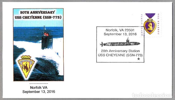 MATASELLOS 20 ANIVERSARIO SUBMARINO NUCLEAR USS CHEYENNE (SSN-773). NORFOLK VA 2016 (Sellos - Temáticas - Otros Transportes)