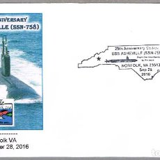 Sellos: MATASELLOS 25 AÑOS SUBMARINO NUCLEAR USS ASHEVILLE (SSN-758). NORFOLK VA, ESTADOS UNIDOS, 2016. Lote 66854902