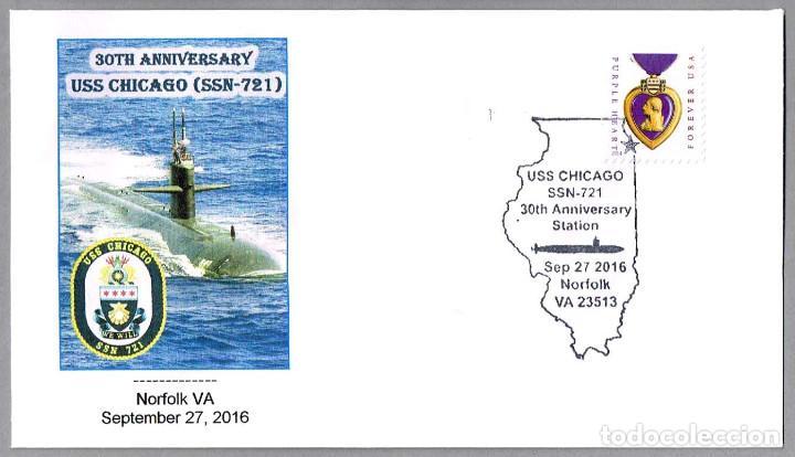 MATASELLOS 30 AÑOS SUBMARINO NUCLEAR USS CHICAGO (SSN-721). NORFOLK VA, ESTADOS UNIDOS, 2016 (Sellos - Temáticas - Otros Transportes)
