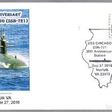 Sellos: MATASELLOS 30 AÑOS SUBMARINO NUCLEAR USS CHICAGO (SSN-721). NORFOLK VA, ESTADOS UNIDOS, 2016. Lote 66855310