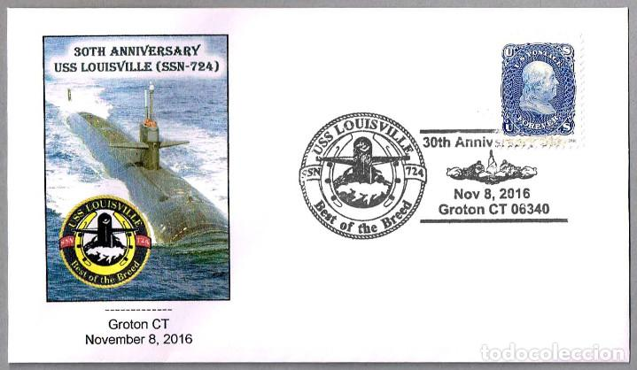 30 AÑOS SUBMARINO NUCLEAR USS LOUISVILLE (SSN-724). GROTON CT 2016 (Sellos - Temáticas - Otros Transportes)