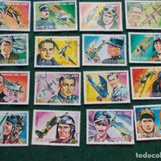 Sellos: 16 SELLOS DE HÉROES DE AVIACIÓN DE GUINEA ECUATORIAL. Lote 70031173
