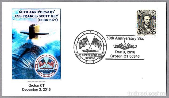 MATASELLOS 50 AÑOS SUBMARINO NUCLEAR USS FRANCIS SCOTT KEY (SSBN-657). GROTON CT, E.UNIDOS, 2016 (Sellos - Temáticas - Otros Transportes)
