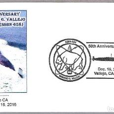 Sellos: MATASELLOS 50 AÑOS SUBMARINO NUCLEAR USS MARIANO G. VALLEJO (SSBN-658). VALLEJO CA 2016. Lote 73539607