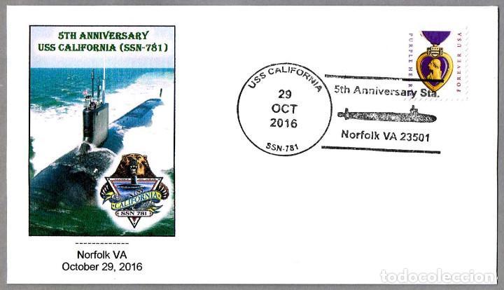 MATASELLOS 5 AÑOS SUBMARINO NUCLEAR USS CALIFORNIA (SSN-781). NORFOLK VA 2016 (Sellos - Temáticas - Otros Transportes)