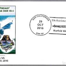 Sellos: MATASELLOS 5 AÑOS SUBMARINO NUCLEAR USS CALIFORNIA (SSN-781). NORFOLK VA 2016. Lote 74078063