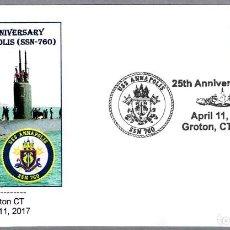 Sellos: MATASELLOS 25 AÑOS SUBMARINO NUCLEAR USS ANNAPOLIS (SSN-760). GROTON CT 2017. Lote 86805836