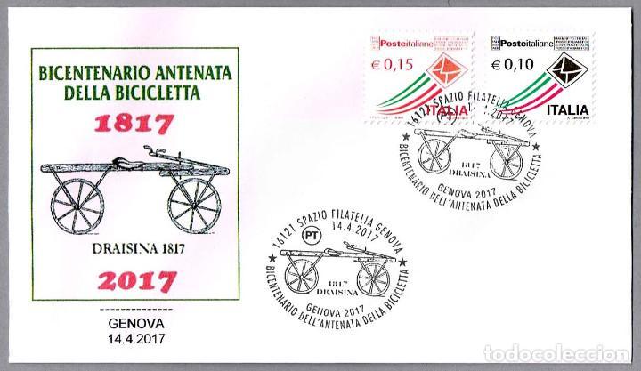 MATASELLOS 200 AÑOS PRECURSOR DE LA BICICLETA - DRAISINA. GENOVA 2017 (Sellos - Temáticas - Otros Transportes)