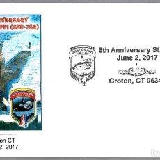 Sellos: MATASELLOS 5 AÑOS SUBMARINO NUCLEAR USS MISSISSIPPI (SSN-782). GROTON CT, ESTADOS UNIDOS, 2017. Lote 91735510