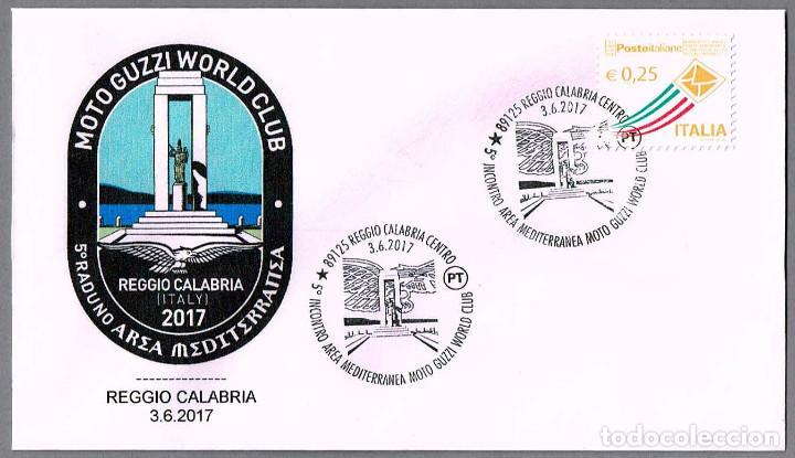 MATASELLOS ENCUENTRO AREA MEDITERRANEO MOTO GUZZI WORLD CLUB. REGGIO CALABRIA, ITALIA, 2017 (Sellos - Temáticas - Otros Transportes)