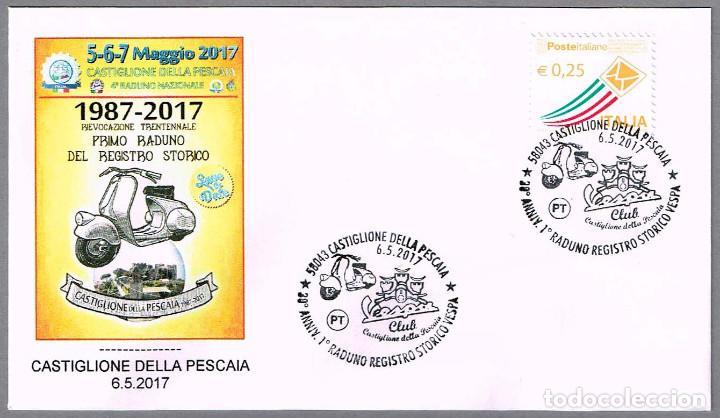 MATASELLOS 30 AÑOS PRIMER ENCUENTRO HISTORICO MOTO VESPA. CASTIGLIONE DELLA PESCAIA, ITALIA, 2017 (Sellos - Temáticas - Otros Transportes)