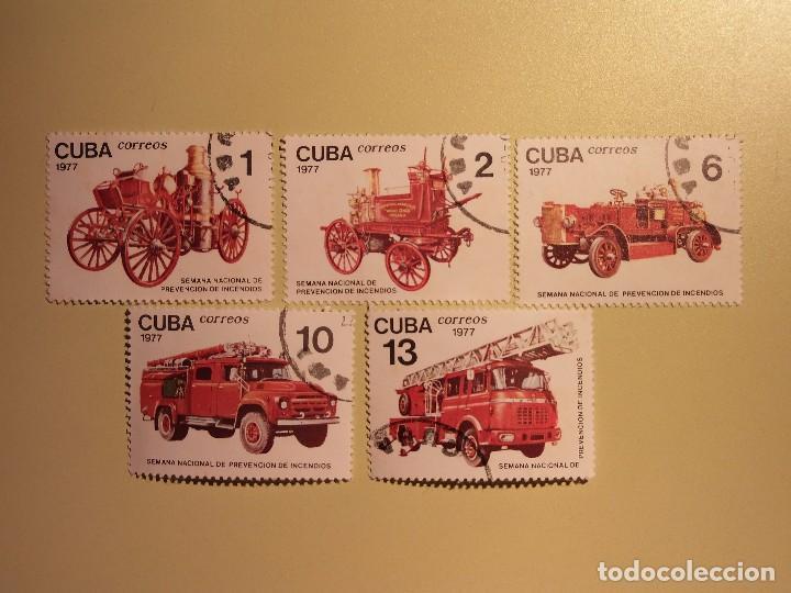 CUBA 1977 - BOMBEROS - PREVENCIÓN DE INCENDIOS - VEHÍCULOS DE BOMBEROS (Sellos - Temáticas - Otros Transportes)