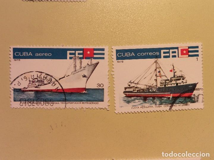 CUBA 1978 - FLOTA PERQUERA - BUQUE TRANSPORTADOR REFRIGERADO Y ATUNERO (Sellos - Temáticas - Otros Transportes)
