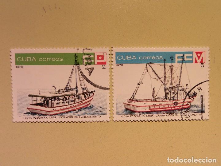CUBA 1978 - FLOTA PESQUERA - ESCAMERO DE FERROCEMENTO Y CAMARONERO DE FERROCEMENTO (Sellos - Temáticas - Otros Transportes)