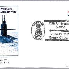 Sellos: MATASELLOS 25 AÑOS SUBMARINO NUCLEAR USS MARYLAND (SSBN-738). GROTON CT, ESTADOS UNIDOS, 2017. Lote 94939435