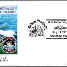 Sellos: MATASELLOS 20 AÑOS SUBMARINO NUCLEAR USS SEAWOLF (SSN-21). GROTON CT, ESTADOS UNIDOS, 2017. Lote 96172323
