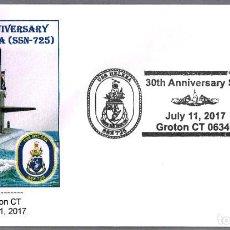 Sellos: MATASELLOS 30 AÑOS SUBMARINO NUCLEAR USS HELENA (SSN-725). GROTON CT, ESTADOS UNIDOS, 2017. Lote 96172423