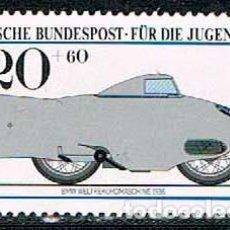 Sellos: ALEMANIA IVERT Nº 1003, MOTOCICLETAS HISTORICAS, BMW 1936 (RECORD DEL MUNDO), NUEVO ***. Lote 96174991