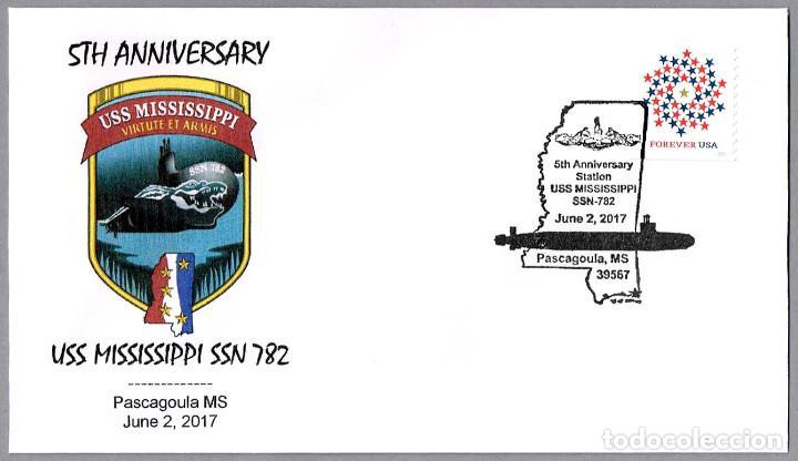MATASELLOS 5 AÑOS SUBMARINO NUCLEAR USS MISSISSIPPI (SSN-782). PASCAGOULA MS, ESTADOS UNIDOS, 2017 (Sellos - Temáticas - Otros Transportes)