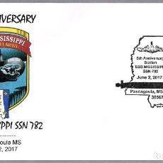 Sellos: MATASELLOS 5 AÑOS SUBMARINO NUCLEAR USS MISSISSIPPI (SSN-782). PASCAGOULA MS, ESTADOS UNIDOS, 2017. Lote 97939367