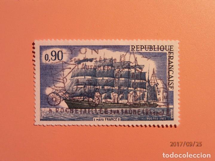 FRANCIA - 1973 - VELERO - BUQUE MERCANTE - BARCOS - COCHE ANTIGUO. (Sellos - Temáticas - Otros Transportes)