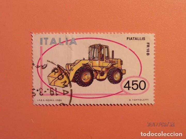 ITALIA 1986 - ESCAVADORAS - MAQUINARÍA DE CONSTRUCCIÓN - MARCA: FIATALLIS. (Sellos - Temáticas - Otros Transportes)