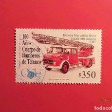 Timbres: CHILE - CUERPO DE BOMBEROS - BOMBA MERCEDES BENZ 1967.. Lote 98964131