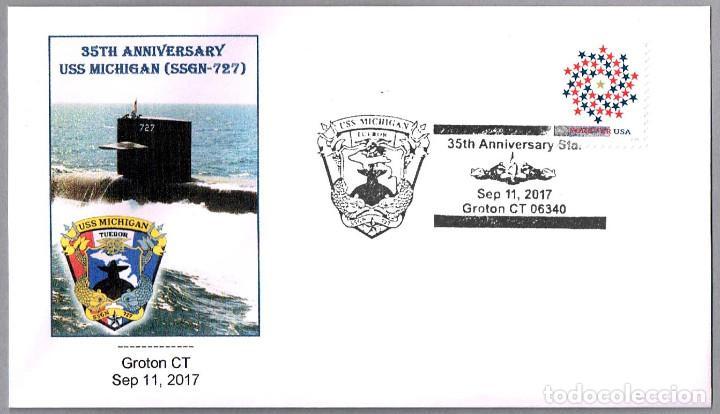 MATASELLOS 35 AÑOS SUBMARINO NUCLEAR USS MICHIGAN (SSGN-727). GROTON CT, ESTADOS UNIDOS, 2017 (Sellos - Temáticas - Otros Transportes)