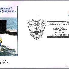 Sellos: MATASELLOS 35 AÑOS SUBMARINO NUCLEAR USS MICHIGAN (SSGN-727). GROTON CT, ESTADOS UNIDOS, 2017. Lote 99750835