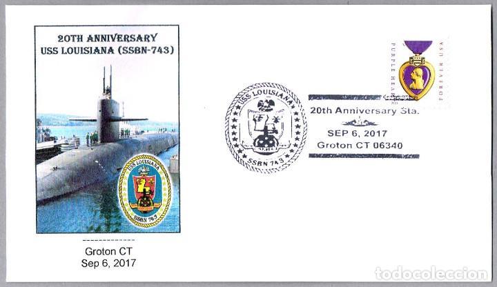 MATASELLOS 20 AÑOS SUBMARINO NUCLEAR USS LOUISIANA (SSBN-743). GROTON CT, ESTADOS UNIDOS, 2017 (Sellos - Temáticas - Otros Transportes)
