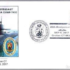 Sellos: MATASELLOS 20 AÑOS SUBMARINO NUCLEAR USS LOUISIANA (SSBN-743). GROTON CT, ESTADOS UNIDOS, 2017. Lote 99750955