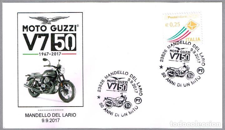 MATASELLOS 50 AÑOS MOTO GUZZI V7. MANDELLO DEL LARIO, ITALIA, 2017 (Sellos - Temáticas - Otros Transportes)