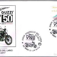 Sellos: MATASELLOS 50 AÑOS MOTO GUZZI V7. MANDELLO DEL LARIO, ITALIA, 2017. Lote 101641927