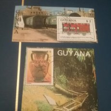 Sellos: 2 HB DE GUAYANA MATASELLADAS. 1987/89. CERAMICA. OLIMPIADAS. SEUL. TRENES.BARCOS.TRANSPORTES.JUEGOS. Lote 101747132