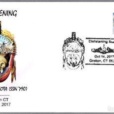 Sellos: BOTADURA DEL SUBMARINO NUCLEAR USS SOUTH DAKOTA (SSN-790). GROTON CT 2017. Lote 102368871