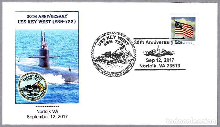 MATASELLOS 30 AÑOS SUBMARINO NUCLEAR USS KEY WEST (SSN-722). NORFOLK VA, ESTADOS UNIDOS, 2017 (Sellos - Temáticas - Otros Transportes)
