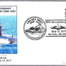 Sellos: MATASELLOS 30 AÑOS SUBMARINO NUCLEAR USS KEY WEST (SSN-722). NORFOLK VA, ESTADOS UNIDOS, 2017. Lote 102369011