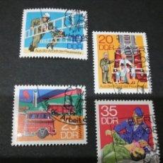 Sellos: SELLOS DE ALEMANIA (R.D.ALEMANA.DDR) MTDOS.1977. BOMBEROS. ESCALERA. CAMION. REANIMACIÓN. Lote 105770432