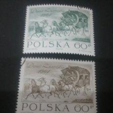 Sellos: SELLOS POLONIA (POLSKA) MATASELLADOS. 1964. CABALLO. CARRUAJE. CARRETA. COCHERO. JINETE. CARRO.CUADR. Lote 114403014