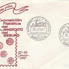 Sellos: AÑO 1967, COCHE ACCIDENTADO, EXPOSICION DEL SINDICATO DEL SEGURO, EN SOBRE DE ALFIL. Lote 115123127