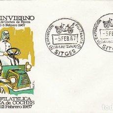 Sellos: AÑO 1967, COCHES ANTIGUOS, EXPOSICION MONOGRAFICA EN SITGES, SOBRE DE ALFIL. Lote 115123443