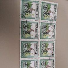 Sellos: 10 SELLOS DE R. MONGOLIA MTDOS. 1982. BICICLETA. TRANSPORTES. CICLISTA. VESTIDOS EPOCA. PAISAJES. . Lote 121902035