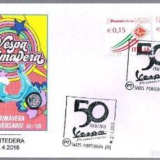 Sellos: MATASELLOS 50 AÑOS VESPA PRIMAVERA - MOTO. PONTEDERA, ITALIA, 2018. Lote 122791763