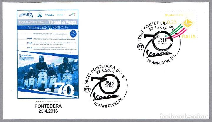 MATASELLOS 70 AÑOS DE MOTO VESPA. PONTEDERA, ITALIA, 2016 (Sellos - Temáticas - Otros Transportes)