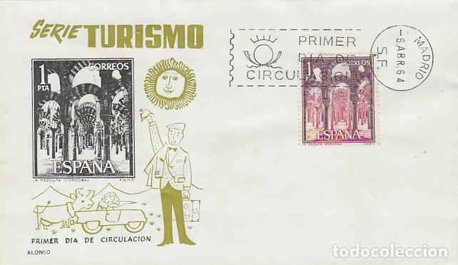 EDIFIL 1549, CORDOBA: LA MEZQUITA, PRIMER DIA DE 6-4-1964 EN SOBRE DE ALONSO (Sellos - Temáticas - Otros Transportes)